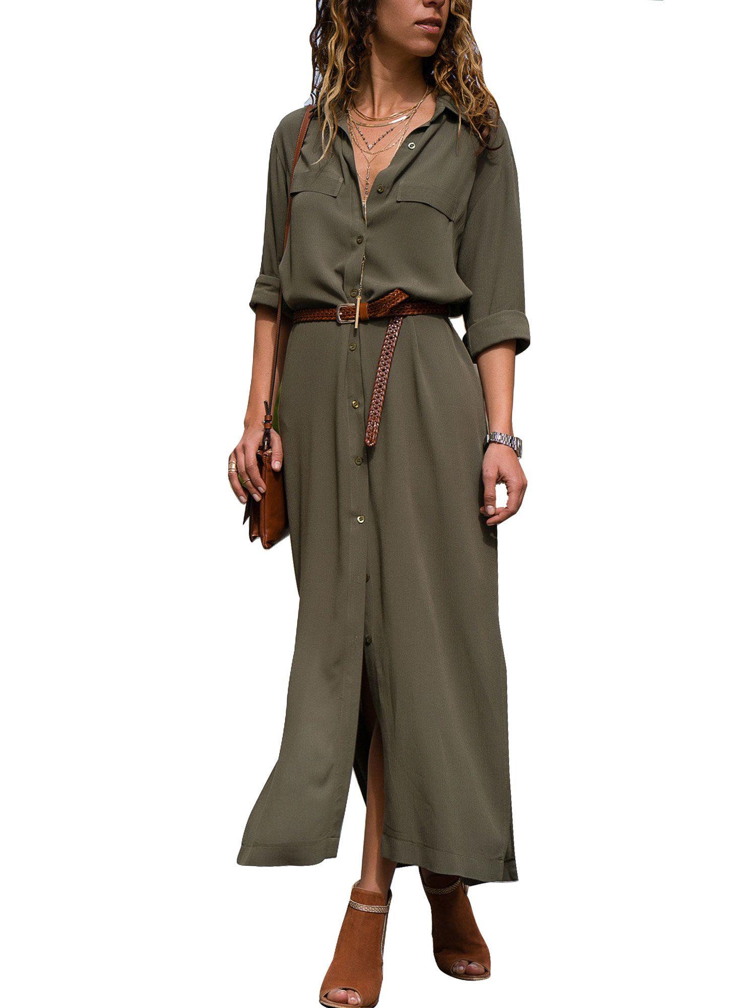 Himone Button Shirt Dresses For Women Maxi Long Sleeve Casual Loose Boho Tea Dress Lapel V Neck Side Split Sun Dress Walmart Com Maxi Shirt Dress Dress Shirt Sleeves Stylish [ 2000 x 1500 Pixel ]