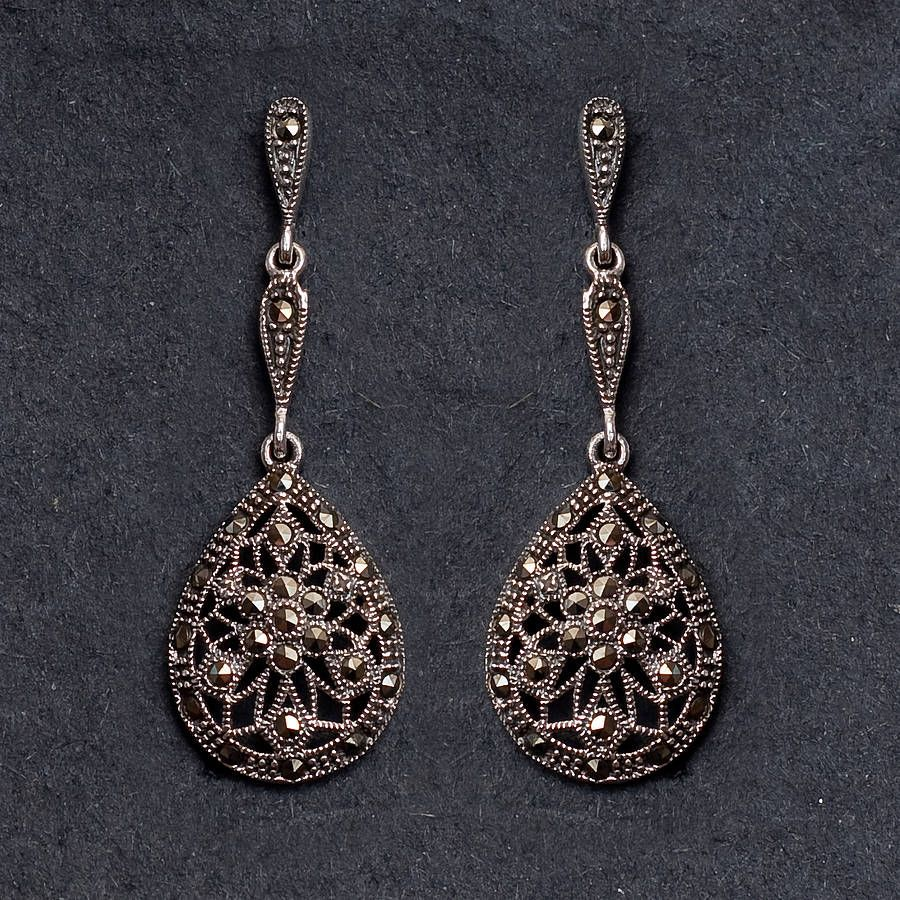 Sterling Silver Marcasite Earrings By Bloom Boutique Notonthehighstreet