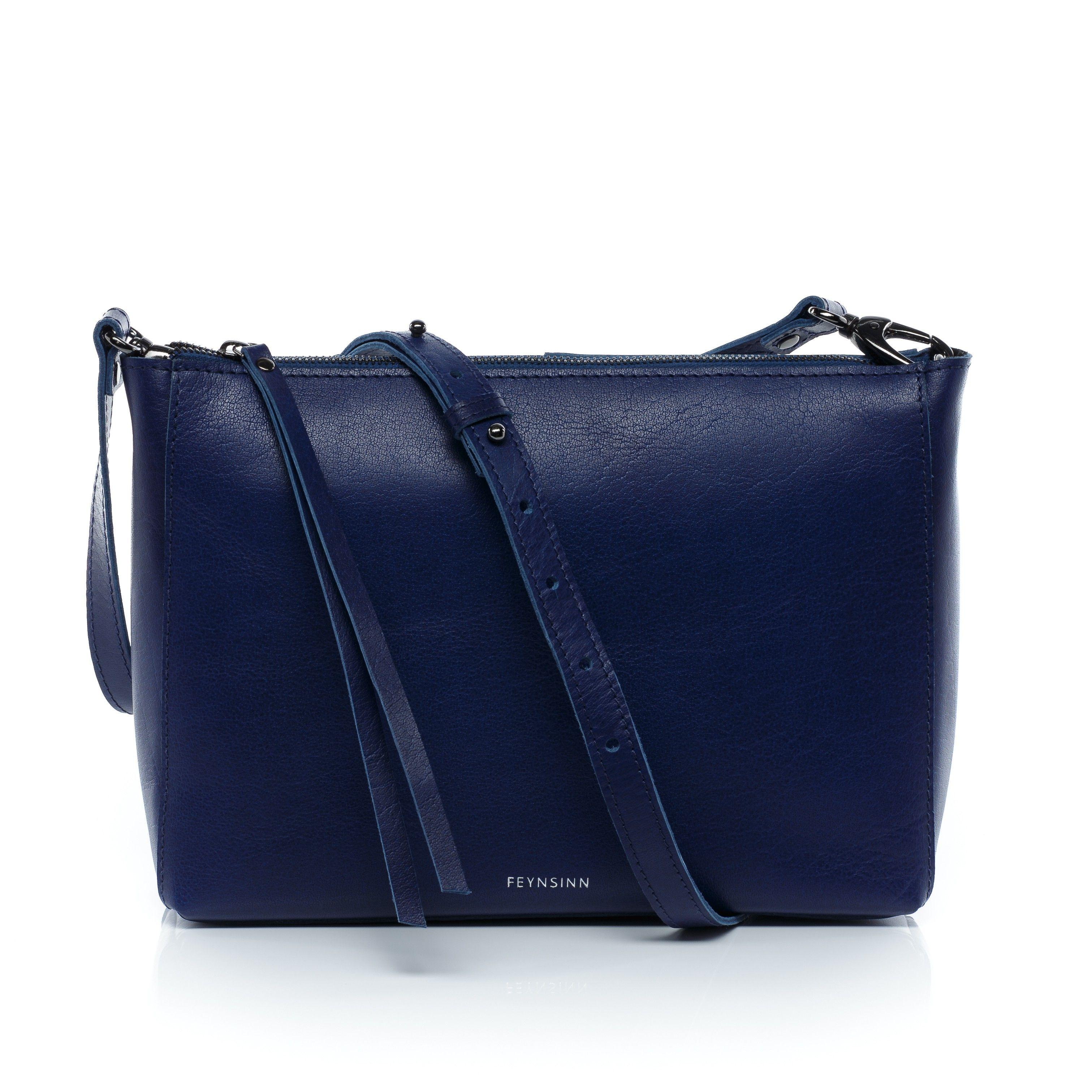301a48394beee FEYNSINN Umhängetasche JEMMA - Leder Ledertasche mit Schultergurt indigo  Taschen Damentaschen Abendtaschen
