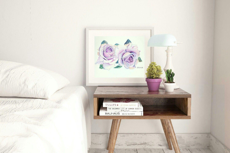 Soggiorno Viola ~ Due rose viola dipinto originale pezzo unico idea regalo per
