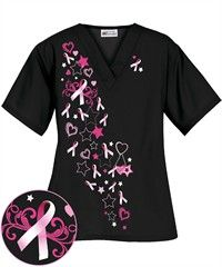 Everyone knows I am not fond of pink, but for a good cause I can make an exception.  Besides scrubs are so comfortable to just hang out in.  UA Women's Pink Charm Black Print Scrub Top