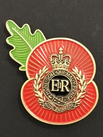 Engineers and Poppy Lapel Pin Badge Military Army Remembrance
