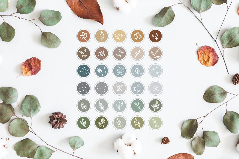 30 Instagram Highlights / iOS 14 App Icons Seasonal colors