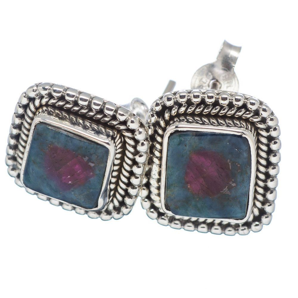 "Ruby Fuchsite 925 Sterling Silver Earrings 1/2"" EARR315675"