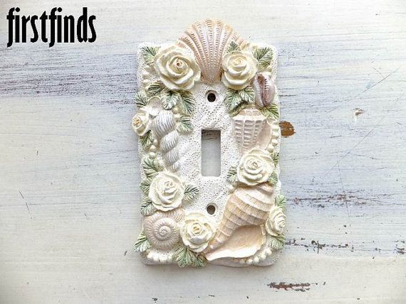 Single Electrical Switch Plate Cover Beach Themed Shells