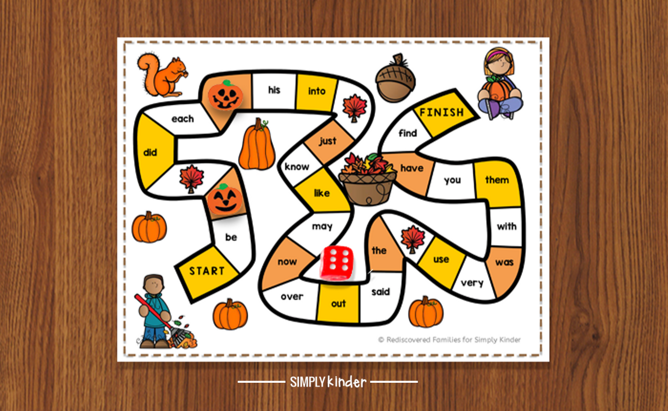 FREE Printable Sight Word Game To Make For Fall Simply