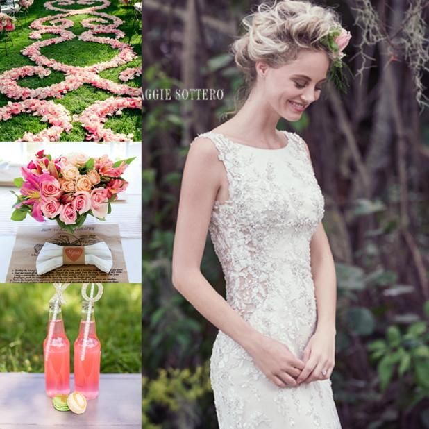 Coral Pink Peach Wedding Ideas Inspiration Theme Wedding Dress