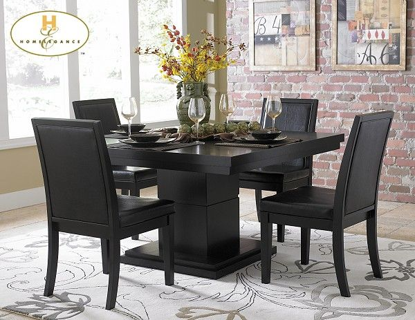 Woodbridge Home Designs 5235 Series 5 Piece Dining Set in Distressed Black & Interesting Black Kitchen Table | Home \u0026 Furnature | Pinterest ...