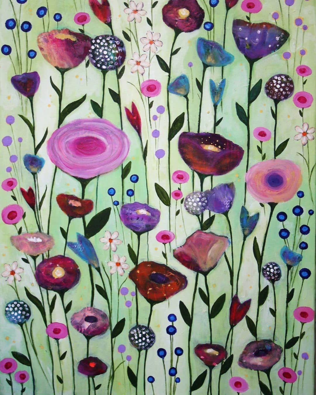 shanti ines kassebom on instagram flower garden acryl auf leinwand 60x80 cm ein alteres bild das schon langer verkauft art printed shower curtain prints 150x100 a1