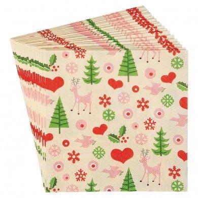 Set Of 20 50\u0027s Christmas Napkins {Christmas} Pinterest Napkins