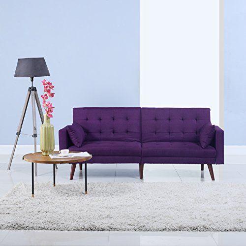 Futons Berlin modern tufted linen splitback recliner sleeper futon sofa https
