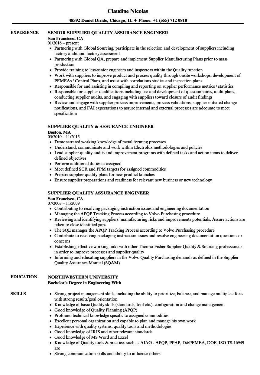 Supplier Quality Assurance Engineer Resume Samples Velvet Jobs Amazing Supplier Quality A Business Analyst Resume Project Manager Resume Job Resume Examples