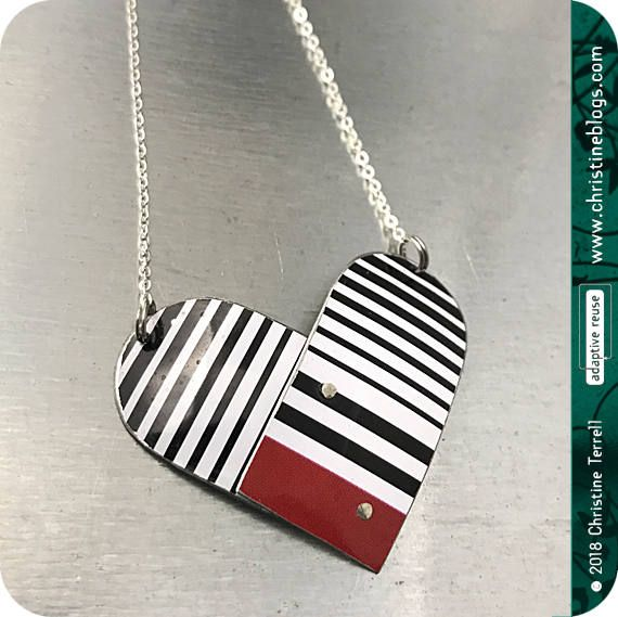 Black & White Tin Heart Recycled Necklace Valentine Gift Tin Anniversary Birthday Gift Bridesmaid Gift Love Ethical Fashion Friend Wife Gift by christineterrell for adaptive reuse on Etsy