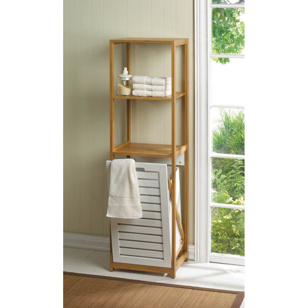 bathroom accent furniture. Beautifully Sleek Bamboo Hamper Shelf - Just What Your Bathroom Needs! Organize Bath With This Plenty Of Accent Furniture U