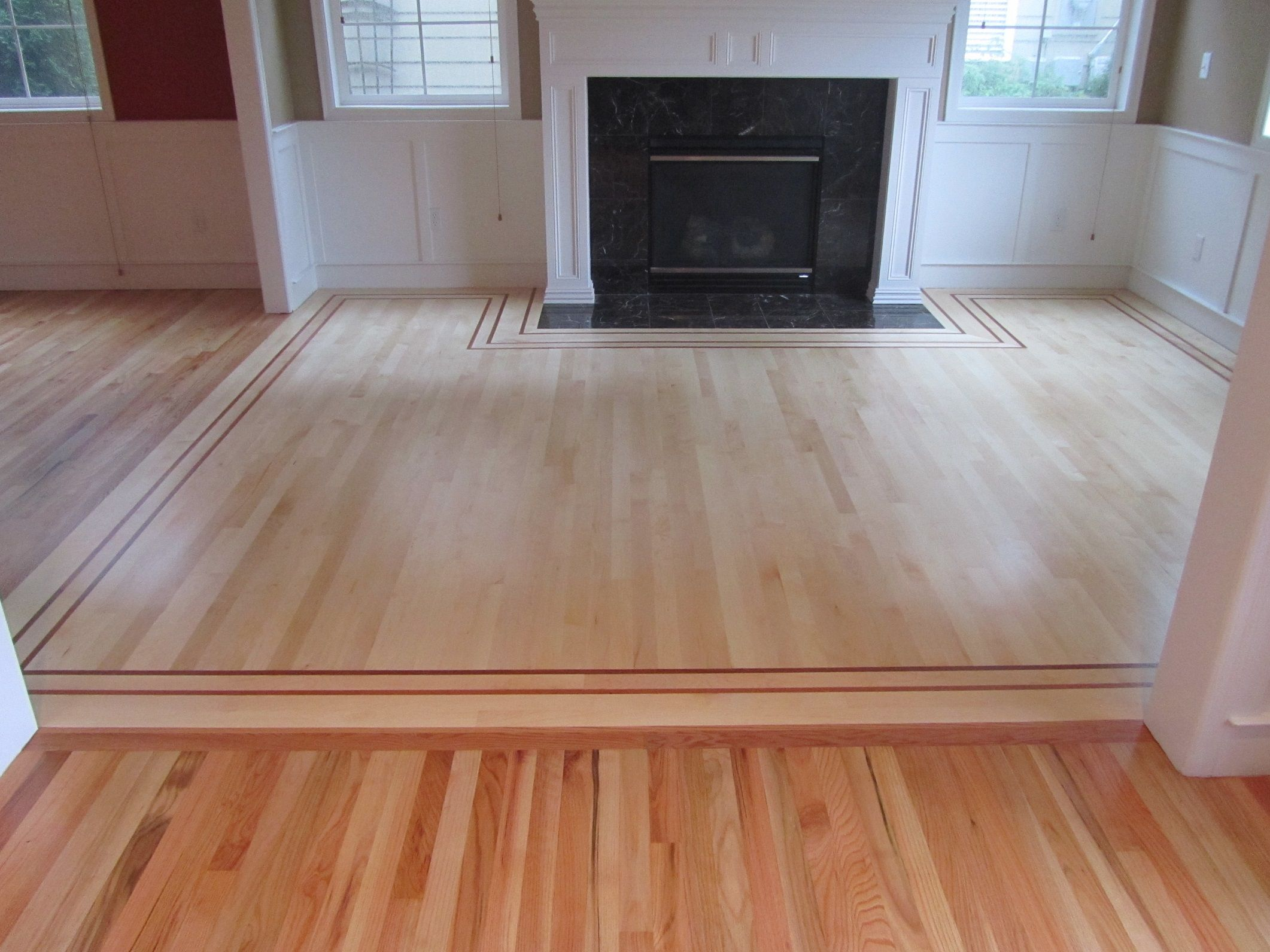 Floor Beautiful Wood Floor Refinishing Around White Painted Wall Interior With Bla Herringbone Hardwood Floors Refinishing Hardwood Floors Refinishing Floors