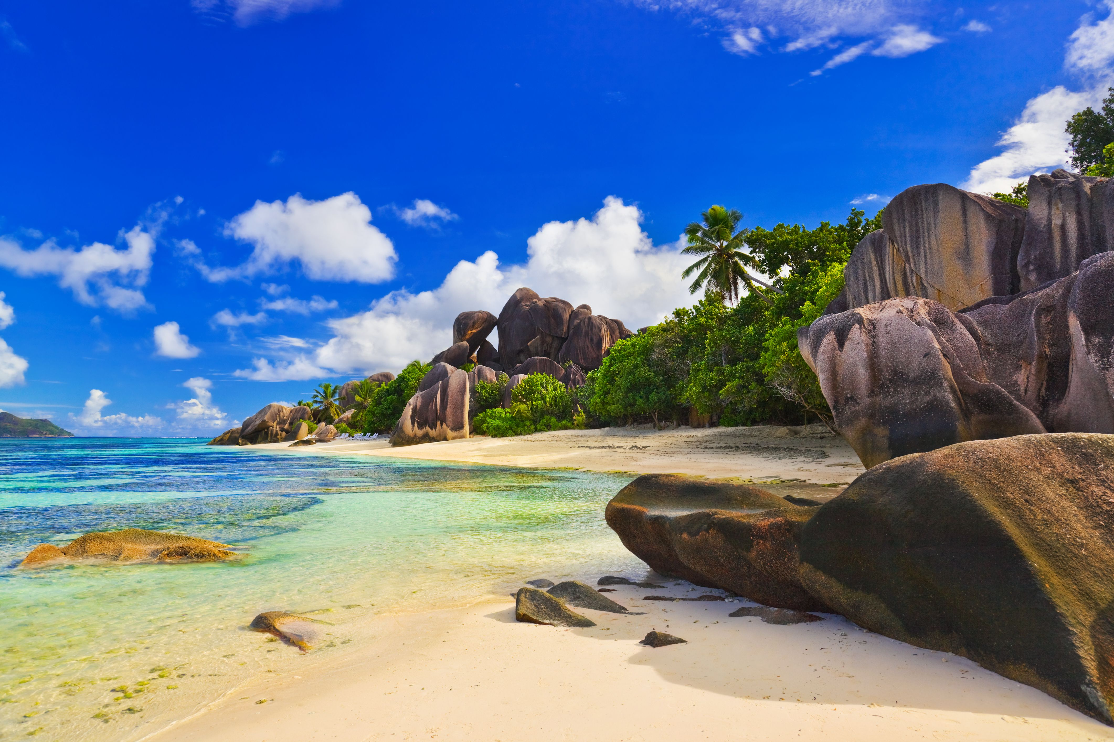 Seychelles Islands... Look how blue that sky is! 'sigh'