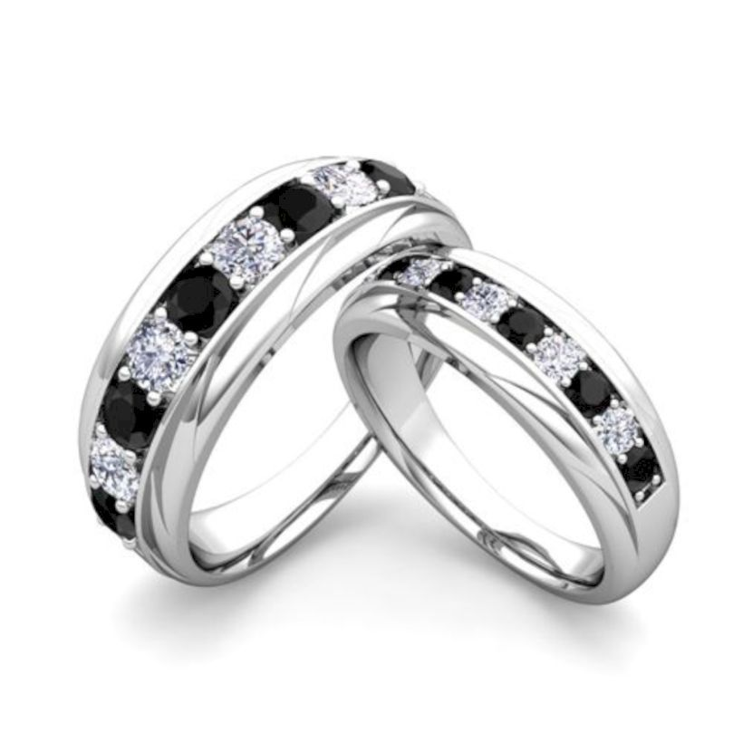 35 Diamond Ring Ideas For Anniversary Day With Your Couple Black Diamond Wedding Rings Wedding Ring Bands Black Diamond Wedding Bands
