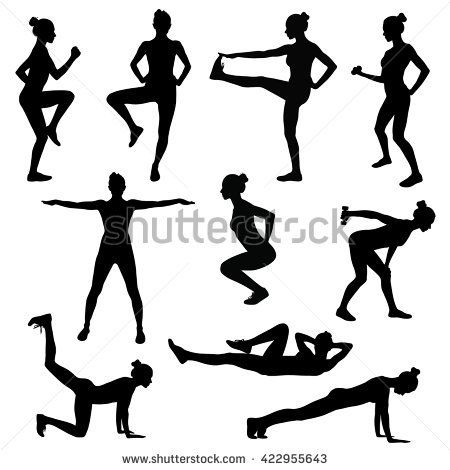 Silhouette Girl Engaged Fitness Stock Vector (Royalty Free) 290742233
