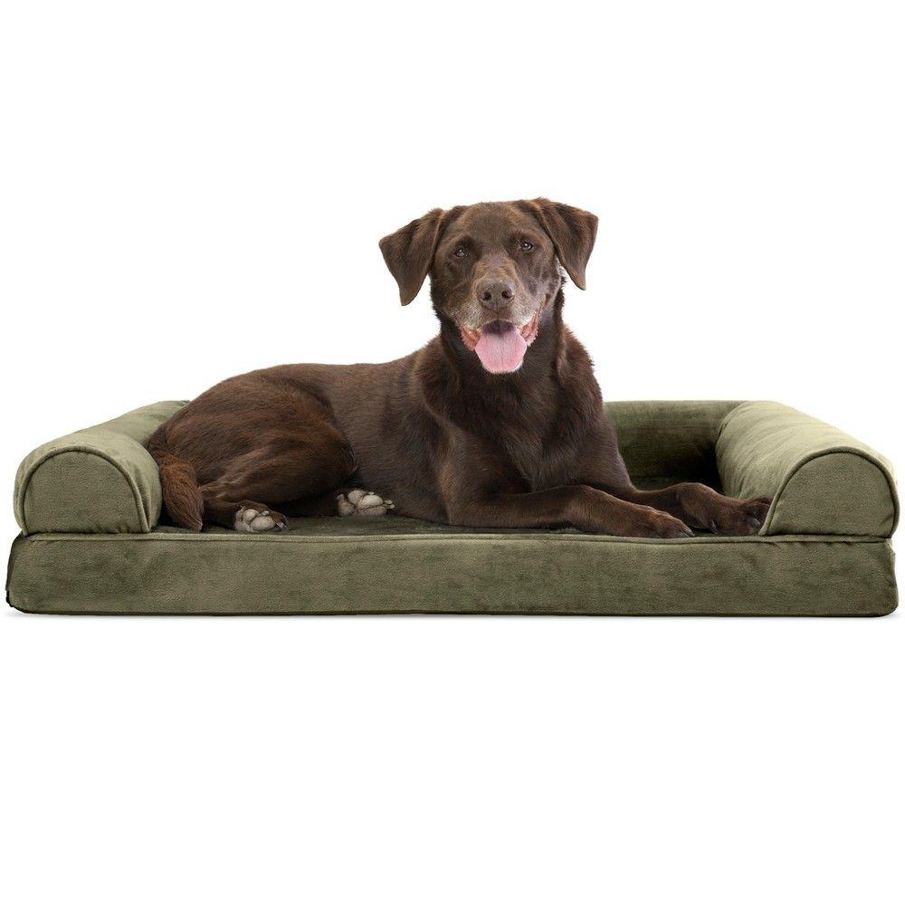 Furhaven Faux Fur Velvet Orthopedic Sofa Dog Bed Large Dark Sage Dog Pet Beds Dog Bed Large Orthopedic Dog Bed