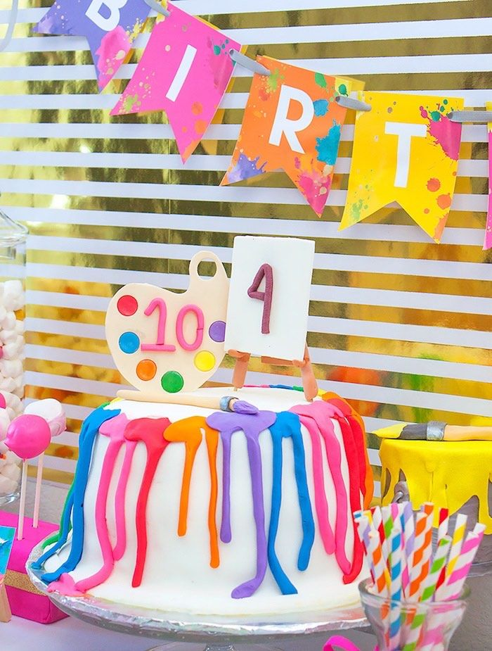 Art party birthday cake from a Neon Art Themed Birthday Party via