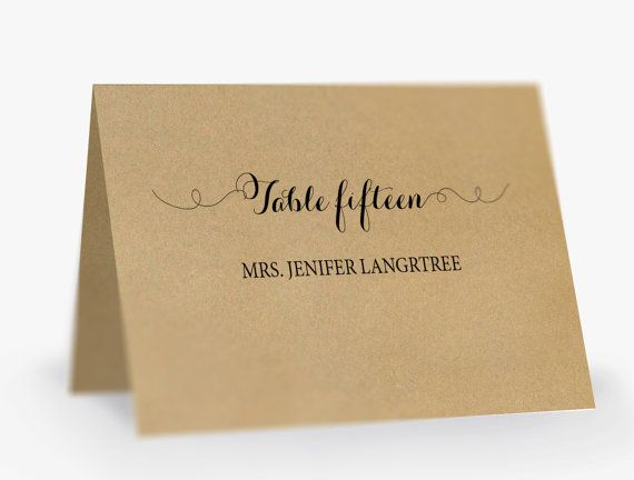 Printable Place Card Template Editable Escort Word Tent Card - card word template