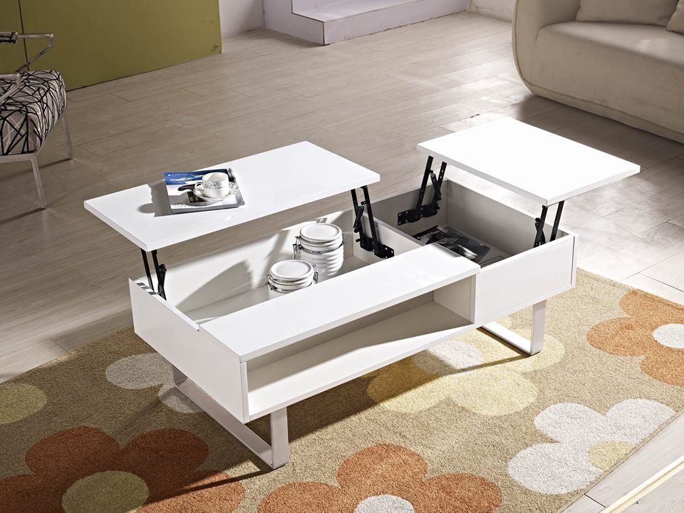 Functional Center Table With Concealed Storage A Gentle Lift Of The Table Top Transforms It To A W Coffee Table Modular Coffee Table Coffee Table With Storage