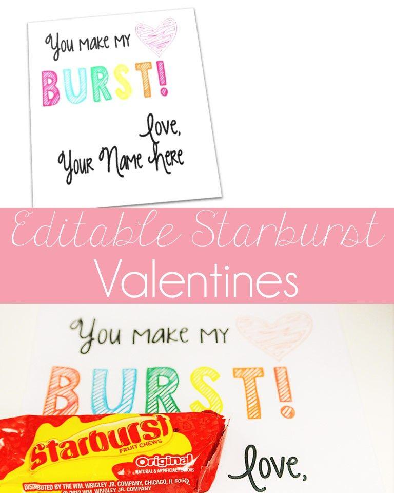 Free editable Starburst Valentines