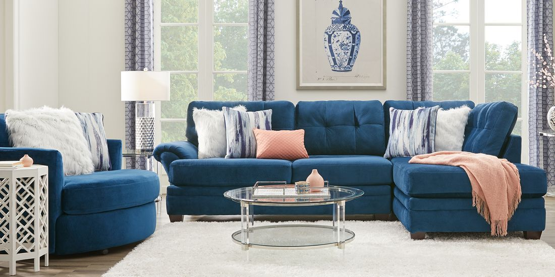 Dharma Place Blue 2 Pc Sectional Rooms To Go Furniture Rooms To Go Sectional