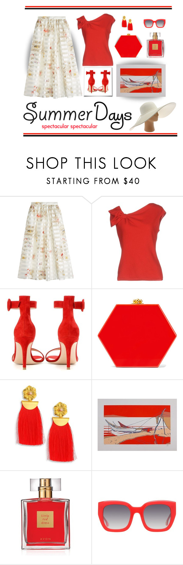 """""""Hot Summer Days"""" by outfitsloveyou ❤ liked on Polyvore featuring Fendi, Valentino, Gianvito Rossi, Edie Parker, Lizzie Fortunato, NOVICA, Avon, Alice + Olivia and San Diego Hat Co."""