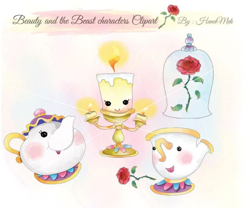 Cute Beauty And The Beast Cute Character Clipart Instant Download