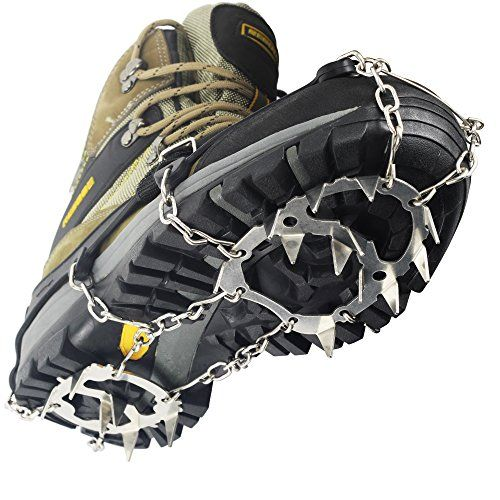 Anti Slip 11-Teeth POINT Ice Snow Shoes Spike Grip Boots Chain Crampons Grippers