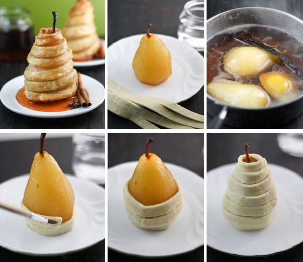 Baked pears in puff pastry. This would be yummy with apples too!