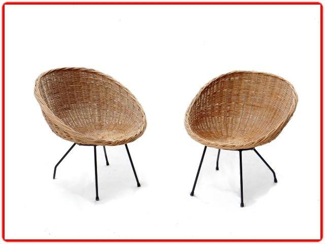 FAUTEUILS ROTIN COQUILLE VINTAGE 1960 DLS M MATEGOT meubles