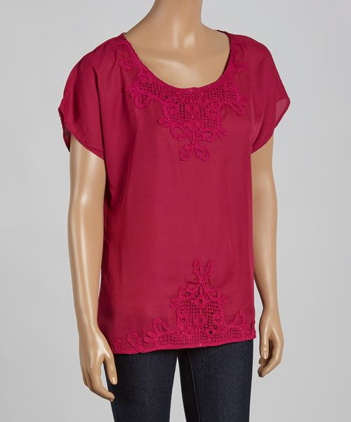 Look at this Raspberry Crochet Scoop Neck Top on #zulily today!