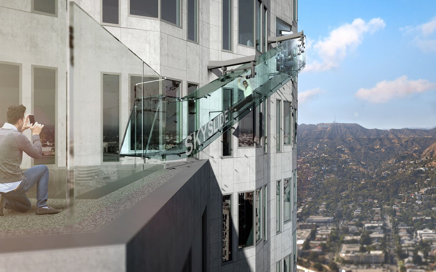 A Deliciously Terrifying Glass Slide That Hangs 1 000 Feet Above Downtown Los Angeles Los Angeles Skyscrapers Us Bank Tower Glass Slides