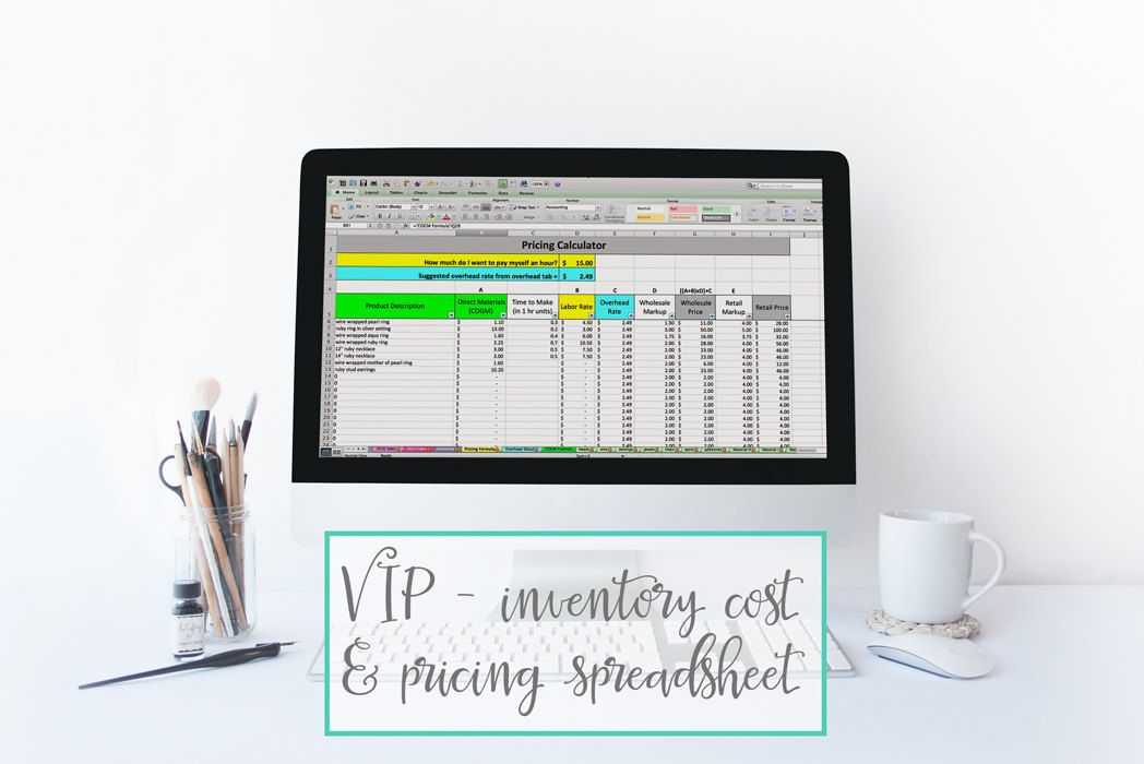 Inventory Cost  Pricing Spreadsheet - pricing template inventory