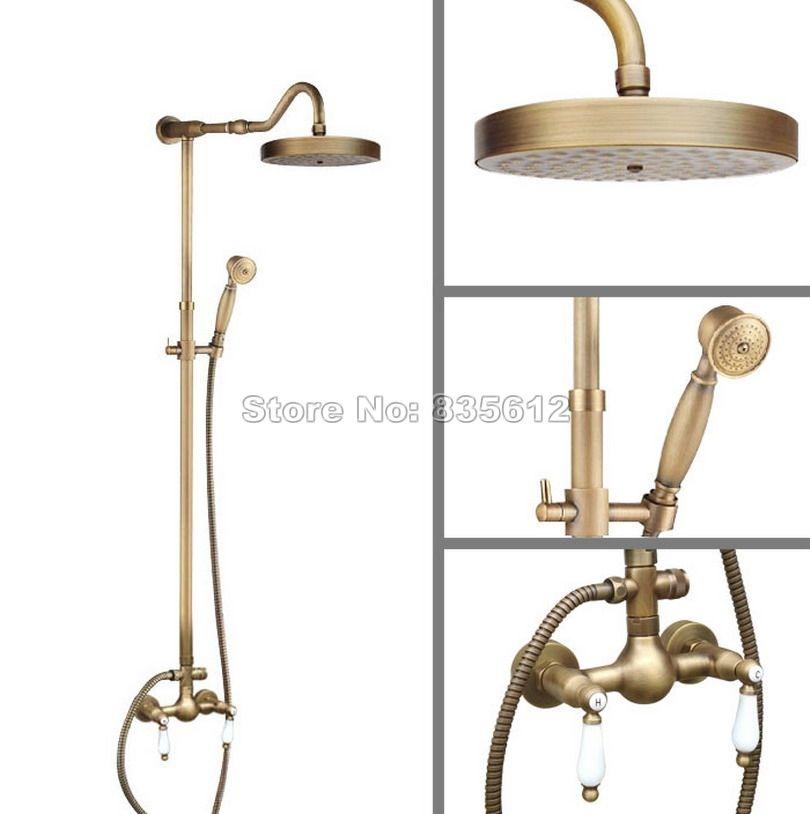 Antique Brass Bathroom Rainfall Shower Faucet Set Wall Mounted