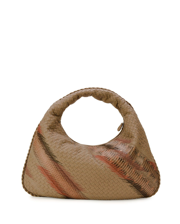d2f9bb6d72 Large Veneta Shadow-Embroidered Snakeskin Hobo Bag