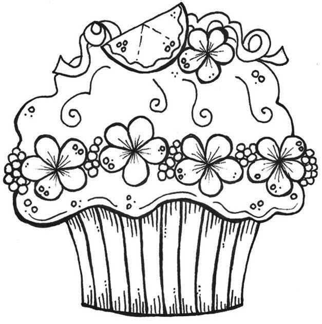 Cute Birthday Cupcake Coloring Pages Cupcake Coloring Pages