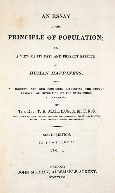 Titlepage to thomas malthus an essay on the principle of
