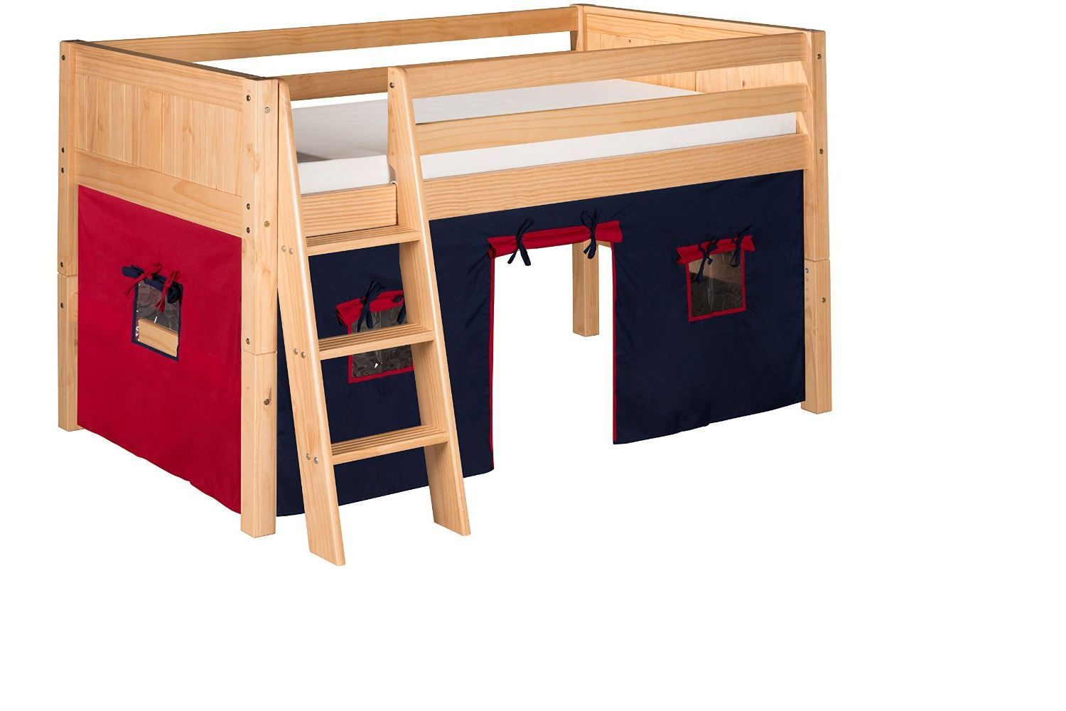 Camaflexi Panel Style Low Solid Wood Loft Bed with Fabric Playhouse Twin Side…
