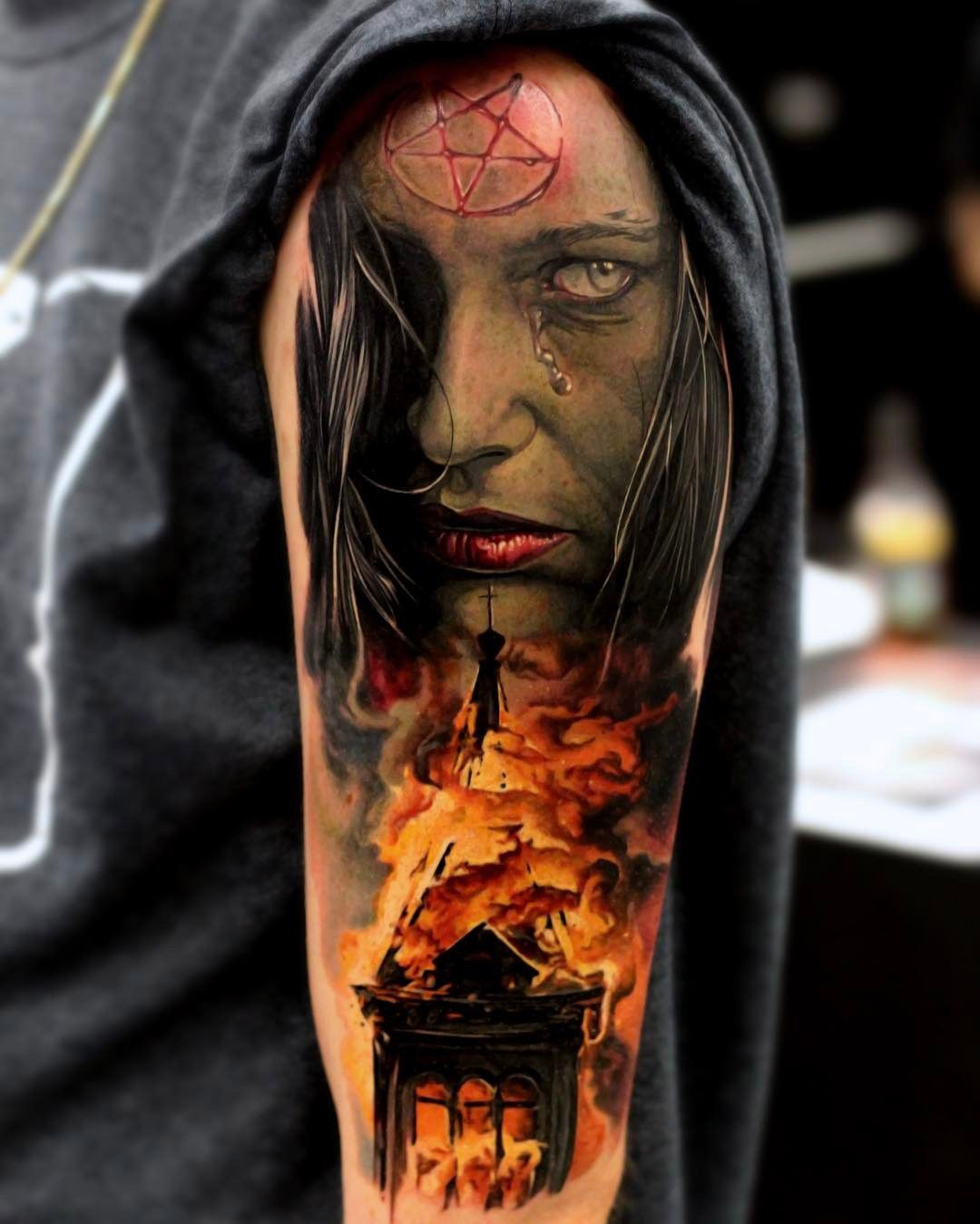 satanic burning church pinterest churches tattoo and tatting. Black Bedroom Furniture Sets. Home Design Ideas