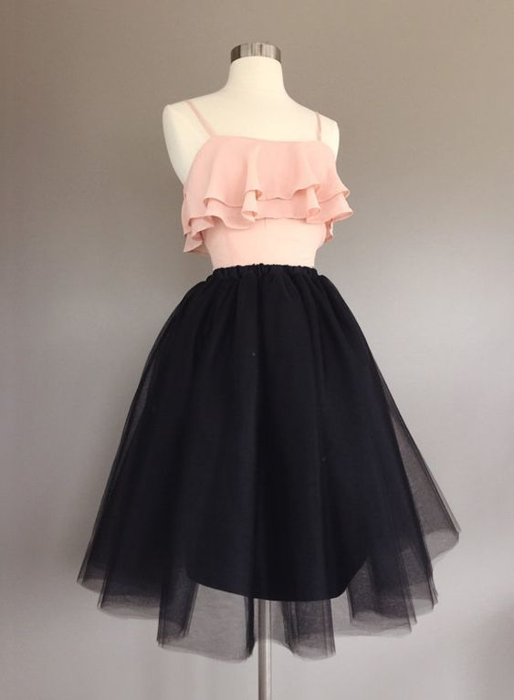 two piece black tulle homecoming dress