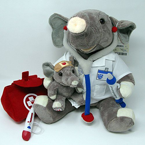 43341def492 Build A Bear Doctor Elephant in Lab Coat Medical Bag   Baby Elephant  Patient  Build-A-Bear Workshop BABW plush stuffed gray Asian Elephant.