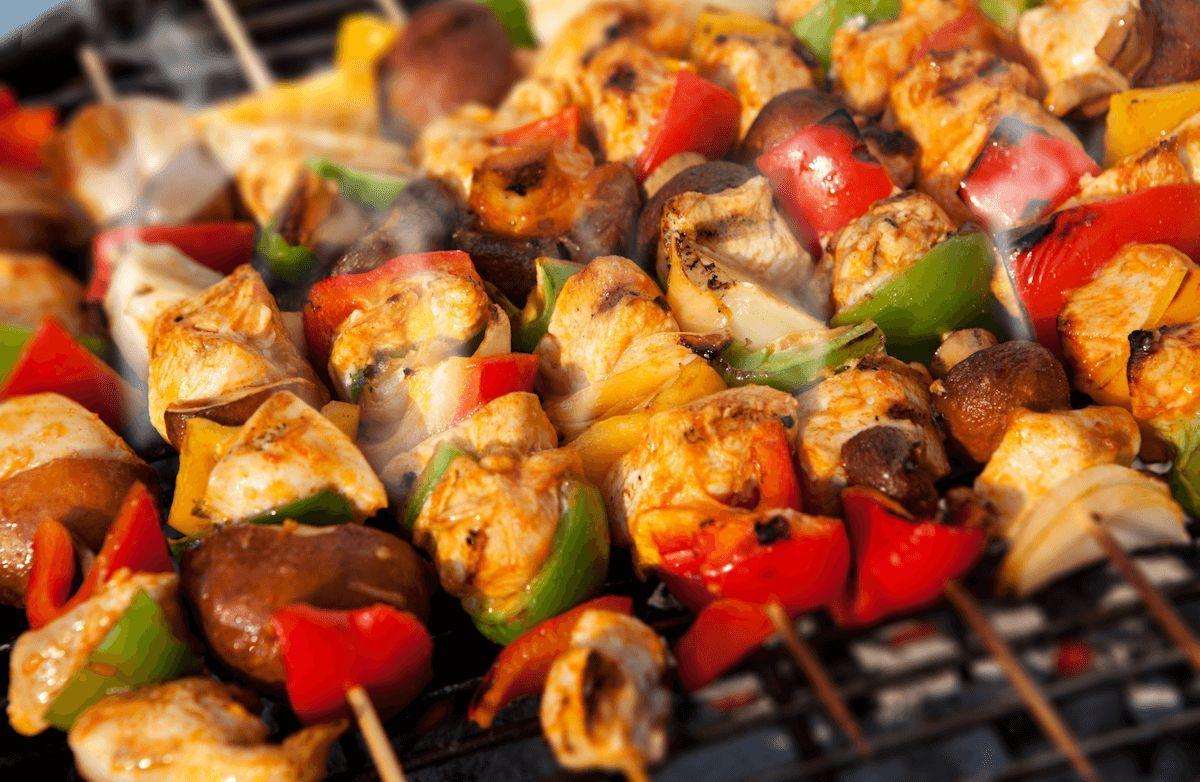 Spanish style chicken kabobs