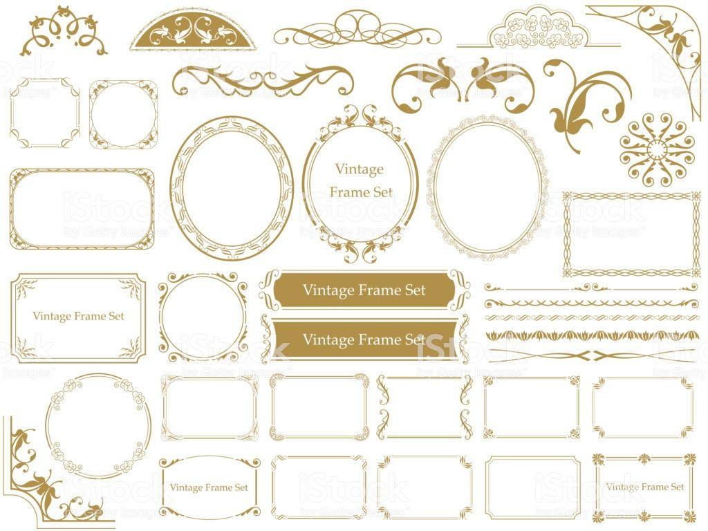 Set of assorted vintage frames, vector illustrations