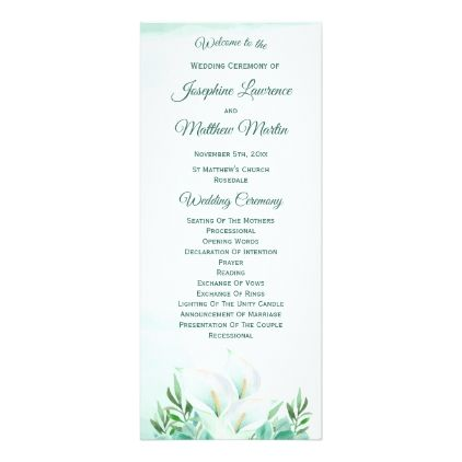 White Calla Lily Wedding Programs