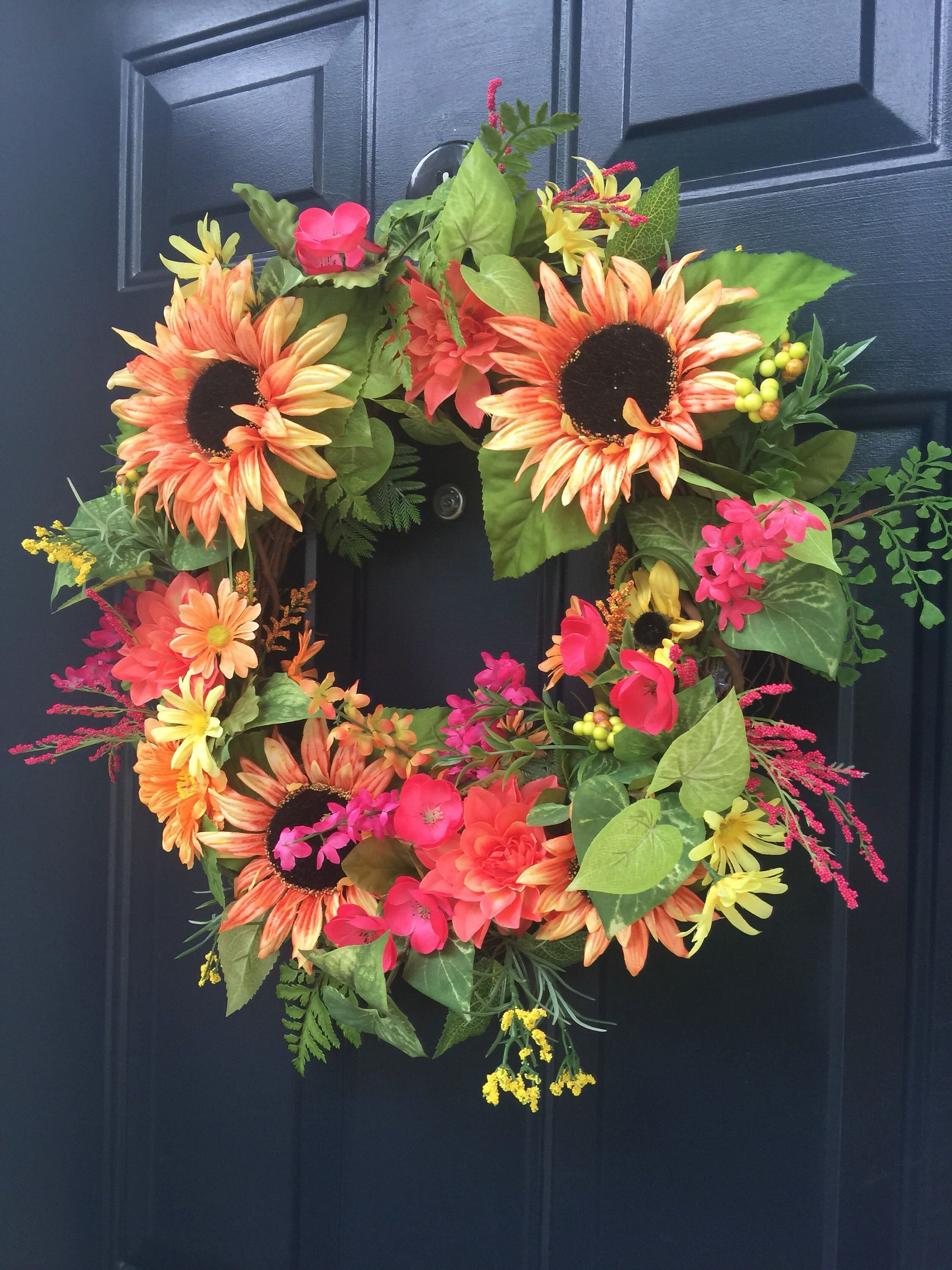 Peach Sunflower Wreath For Front Door, Summer Sunflowers Door Wreath,