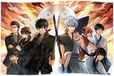 Gintama Yorozuya Shinsengumi Poster By Shumijin Abstract Line Art Art Poster Art