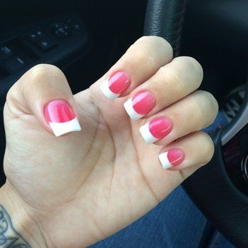 Luxe 9 Nail Spa Dark Pink And White Nails